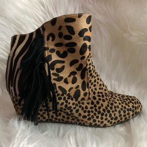 Carlos Falchi Animal Print Fringe Booties
